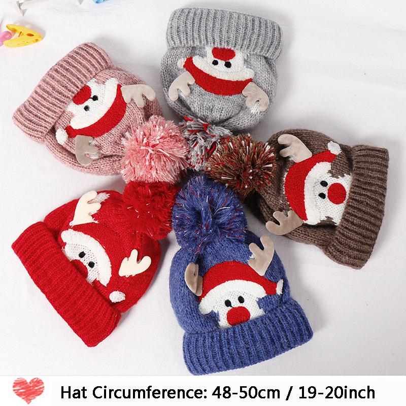 Noel Geyik Bebek kasketleri Şapka Pom Kış Çocuk Şapka Örme Cap İçin Kız Boys Sevimli Antlers Caps Yenidoğan Fotoğraf Prop DBC DH2604