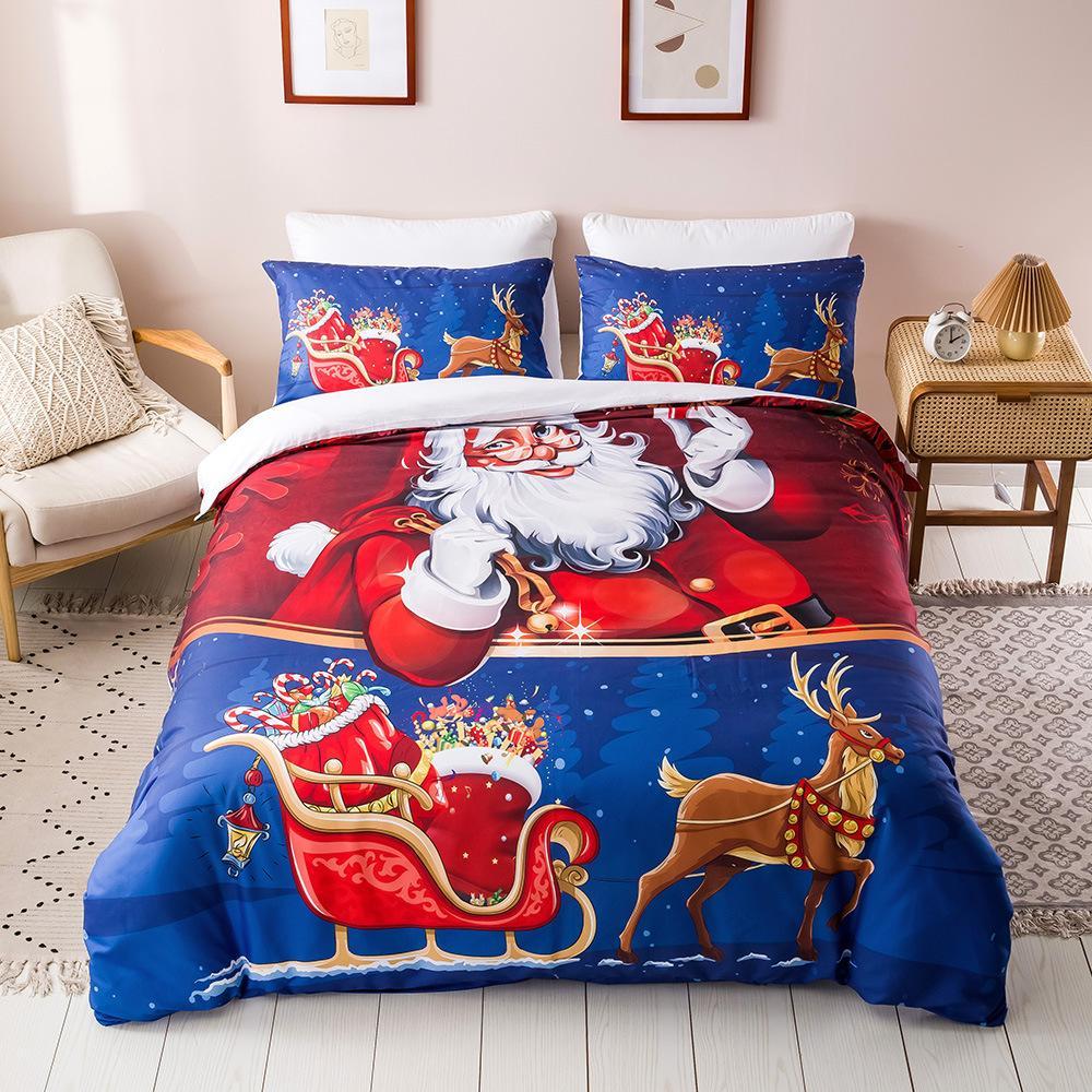 nevresim takımları yılbaşı SICAK kraliçe yatak nevresim takımları 3D dijital baskı yatak Noel serisi süsleri