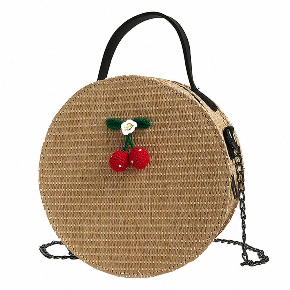 2018 neue Art und Weise Schulter-Beutel-Weinlese-Frauen Umhängetaschen Einfache Weave runde Tote-Handtaschen-Schulter-Beutel Netter Runde Handtaschen Red Handb EEIT #