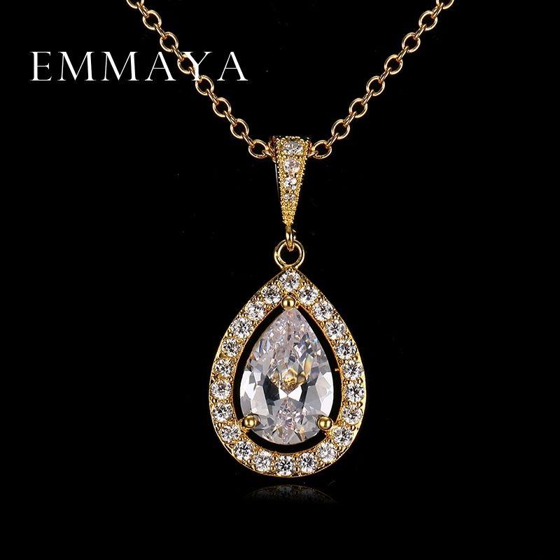 Emmaya капли воды кулон высокого качества белого золота Цвет женщины ожерелье способа кристаллические ювелирные изделия