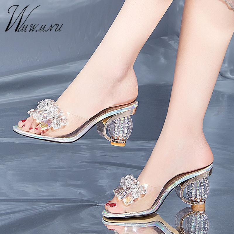 Designer Shoes femmes luxe strass cristal Pompes Nouveau PVC Transparent Chaussons Jelly Party Sandales à talons 200921