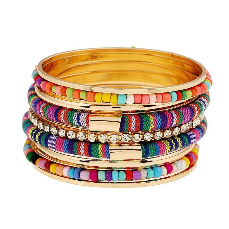 Pulseras del encanto de la borla de Bohemia RE para las mujeres forman color Gold Cuff BanglesBracelets joyería Femme multicapa brazalete Conjunto S35
