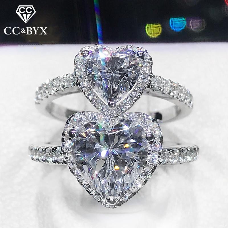 Cluster Ringe Hochzeit für Frauen 925 Silber Herz Bunte 6mm Zirkonia Romantische Ring Engagement Bridal Modeschmuck 1578