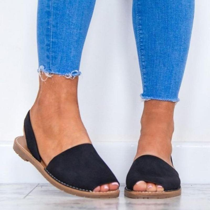 Sommer Art und Weise Frauen-Leder-Fisch-Mund-Band Pantoffel Strand Flache Schuhe Flops Sandalen Schuhe flache beiläufige
