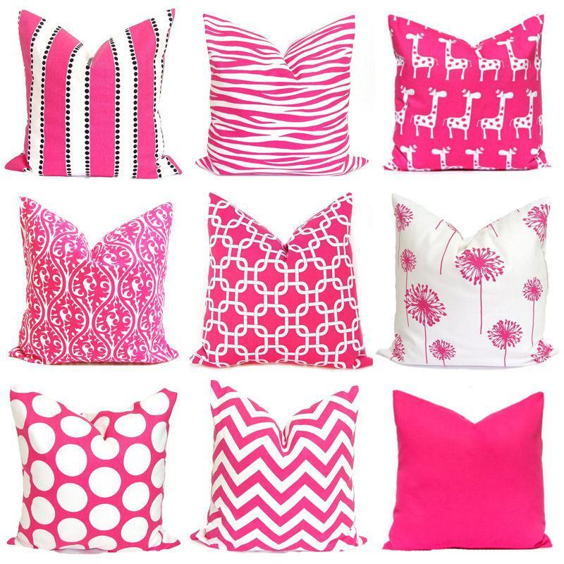 Flor-de-rosa 1PC poliéster fronha Fuchsia Polka Dot listrado geométrica Impresso decorativa fronha almofadas 45 * 45 cm