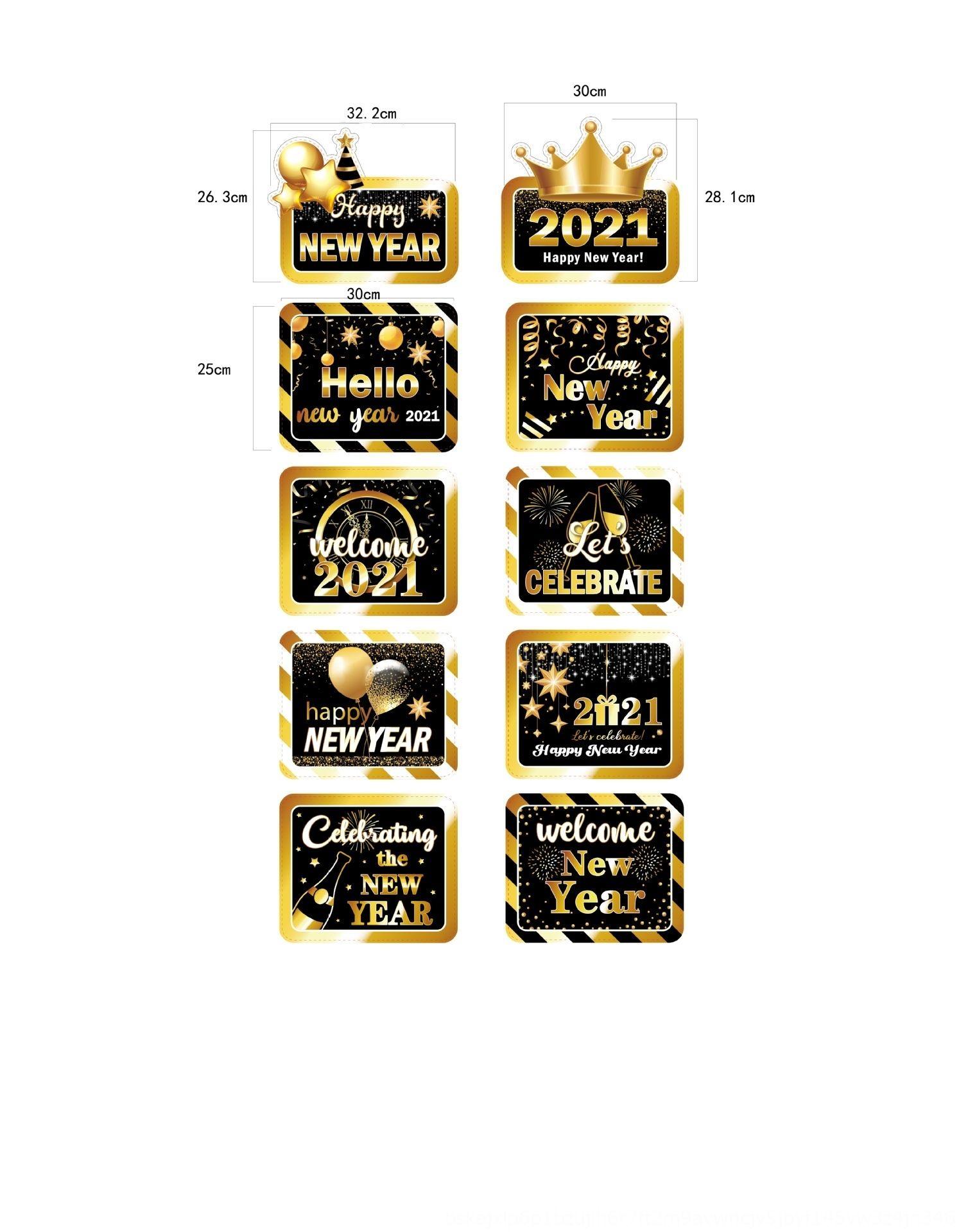 4Ir3D Año Nuevo Bandera-tirar y lista puerta de la decoración de los apoyos de Año Nuevo-tirando de la bandera de la decoración accesorios de fotos H645e