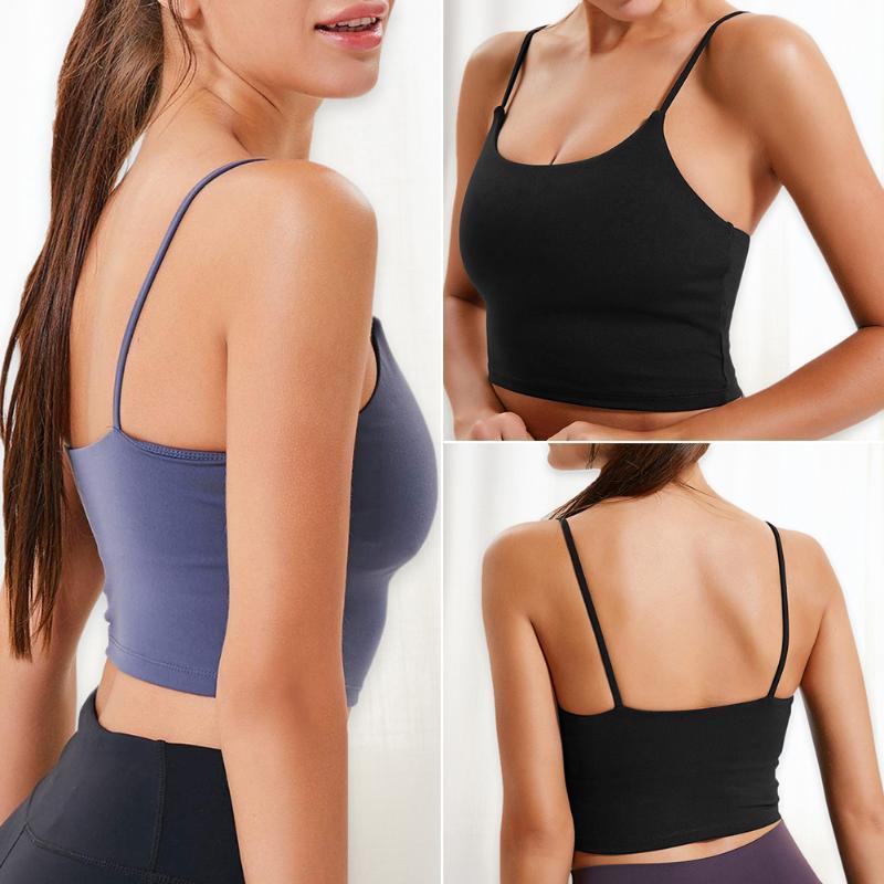Frauen füllten Sport Unterwäsche Laufen Yoga atmungsaktiv Fitness Workout Weste Crop Tops Damen Feste Stoß- Sport-BHs