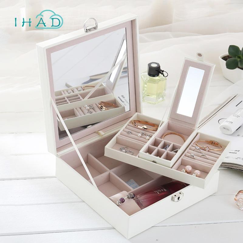 caixa de jóias de couro de luxo PU com espelho Criativo alta capacidade Makeup Organizer Caixão jóias Storage Container melhor presente