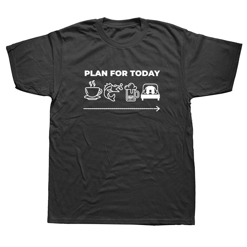Plan für heute Kaffee Angeln Bier Sex-T-Shirt Lustige Hip Hop Tees Tops Harajuku Street lose Art O-Hals-T-Shirts Männer