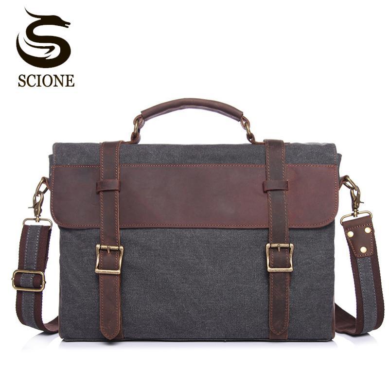 New Canvas Men Briefcase Male Laptop Bags Casual Messenger + For Men Shoulder Bag Fashion Leather Bag Handbag Totes Hbwlx
