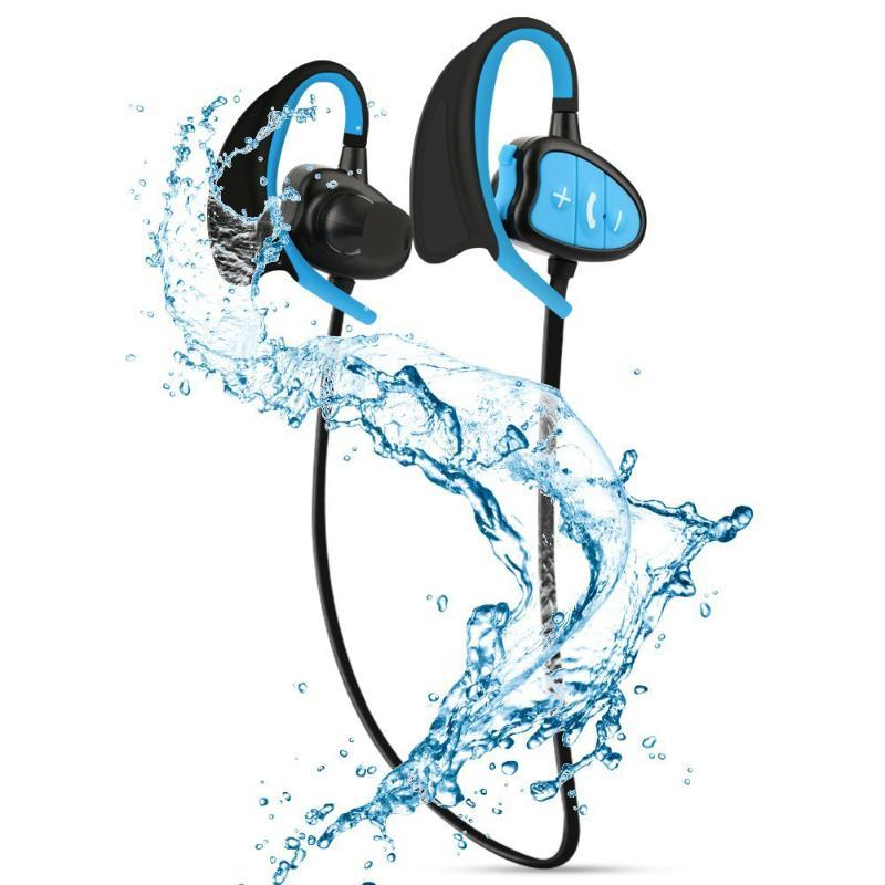2020 IPX8 wasserdichte drahtlose Kopfhörer Bluetooth Kopfhörer für CSR Stereo Headset w / Mikrofon Bass Sport Laufsport Kopfhörer