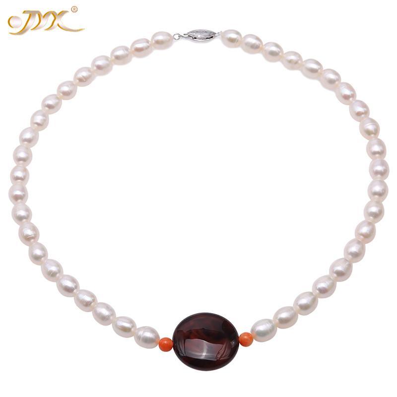 """Anneler' hediye için JYX 2020 Güzel akik inci kolye 7.5-8mm pirinç şekil Beyaz İnci Kolye 17"""""""