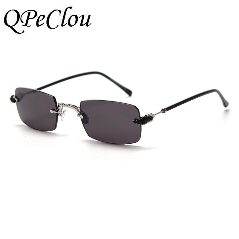 QPeClou 2020 neue Weinlese-kleine quadratische Sonnenbrillen Frauen Mode Randlos Hip Hop Sonnenbrillen Männer Metall Frameless Punk Oculos