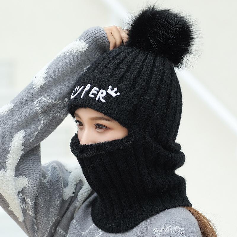 SQTEIO automne femmes chapeau d'hiver earmuffs chaud tricotées masque de chapeau de laine, plus épaississement de velours vélo jumper col col de la tête