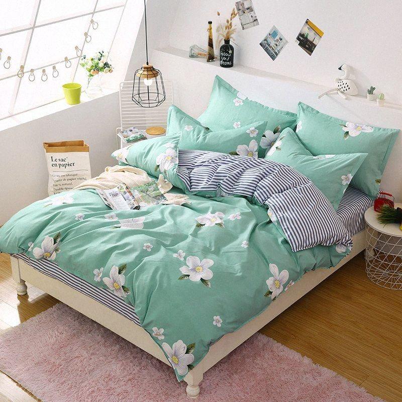 Kurze Art Bettbezug Bettlaken Kissen- Bett Set Blumen Voll Königin König mehr Farbe 1.5M 1.8M, 2.0M Verwenden A6bR #