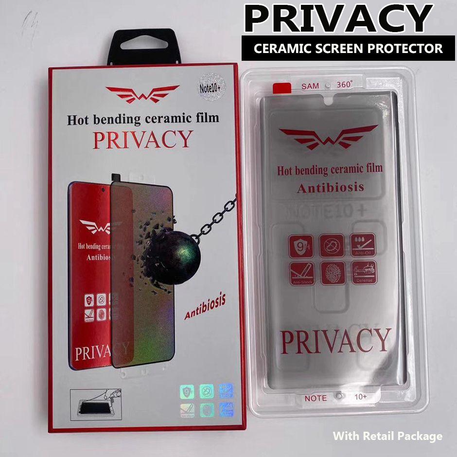Samsung Galaxy S21 S20에 대한 개인 정보 보호 구부러진 세라믹 스크린 보호기 Note20 Ultra S10 S8 S9 노트 10 플러스 지원 지문 unti-peeping 필름 패키지