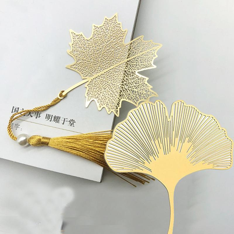 Veine Tasseled feuille Littérature Signets Art Students Fournitures Leaf Brass Signets cadeaux