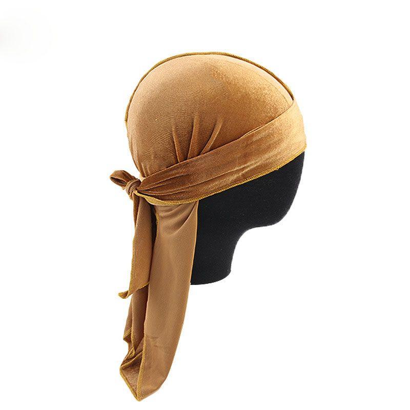 Hot Velvet Durags Bandana Turban Hat Pirate Caps Wigs Long Ribbon Headdress Biker Headband Pirate Hat 12 Colors Wholesale