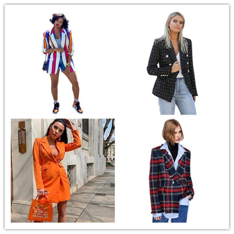الخريف النسائية مخطط مطبوعة الحلل مصمم أزياء طية صدر السترة عنق المرأة معطف عادية لون التباين السيدات الملابس