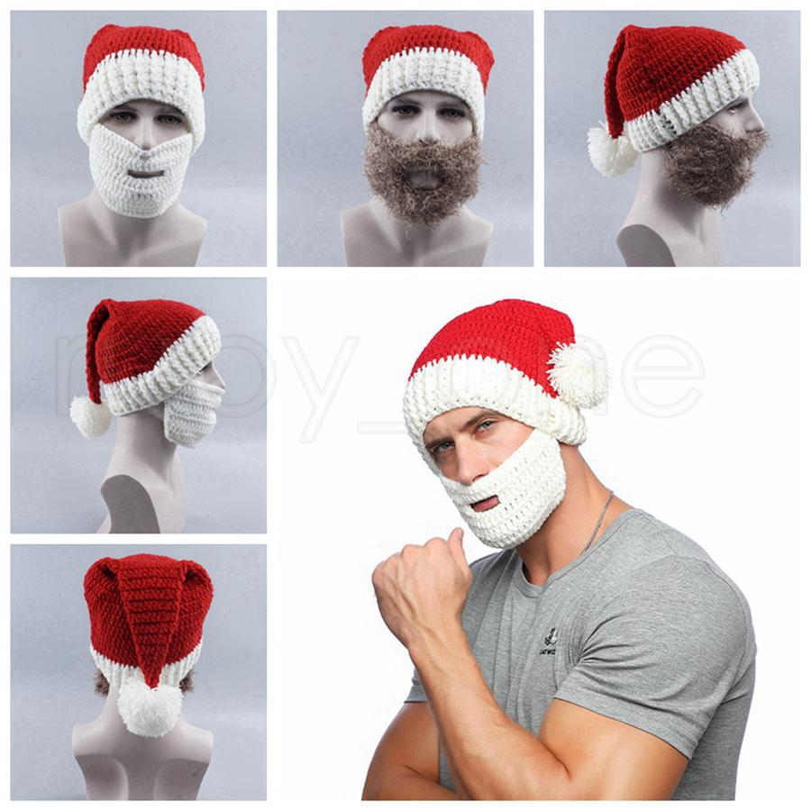 Knitted Xmas Beanies and Beard For Adult Christmas Decorations Santa Claus Hat Cap With Mask For Christmas Party Gifts Favor RRA3596
