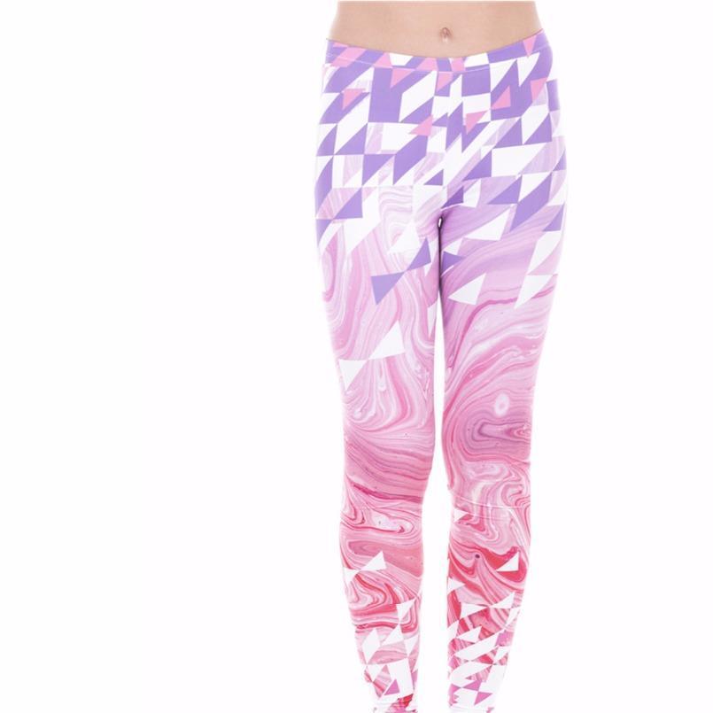 Alta Qualidade Moda Workout Mulheres Slim Leggings triângulos rosa Mármore Calças Printing calças compridas Mulheres Athleisure Leggings