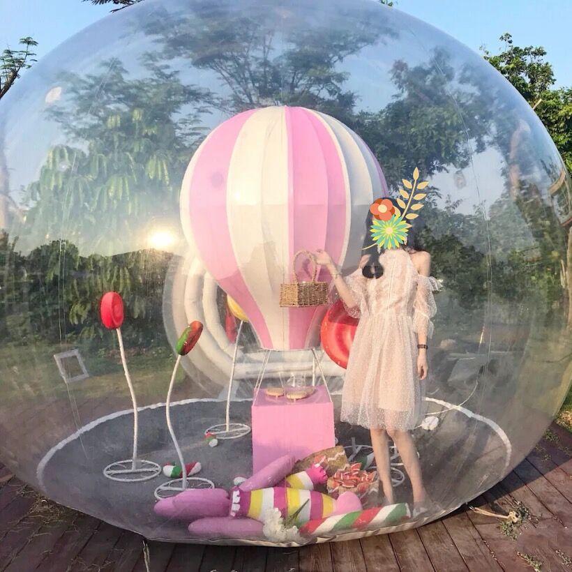نفخ فقاعة IGLOO خيمة شفافة famaily قبة مع منفاخ الهواء في الهواء الطلق التخييم المنتج معرض الإعلان معرض الحدث