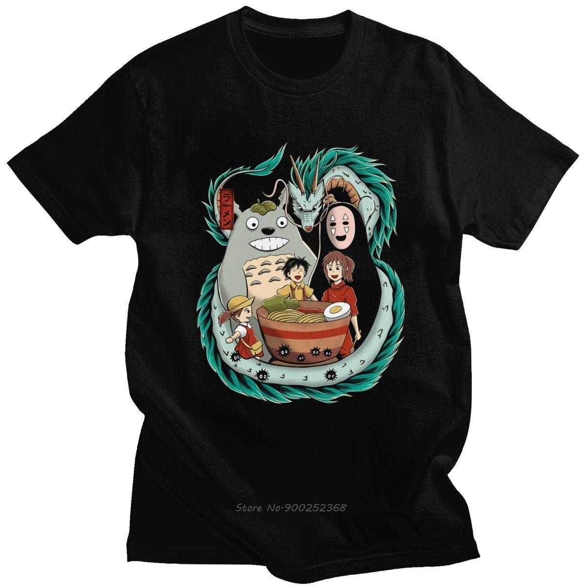 Meu Vizinho Totoro T Shirt Men Cotton T-shirt gráfico de manga curta Studio Ghibli A Viagem de Chihiro Hayao Miyazaki Anime T Top presente