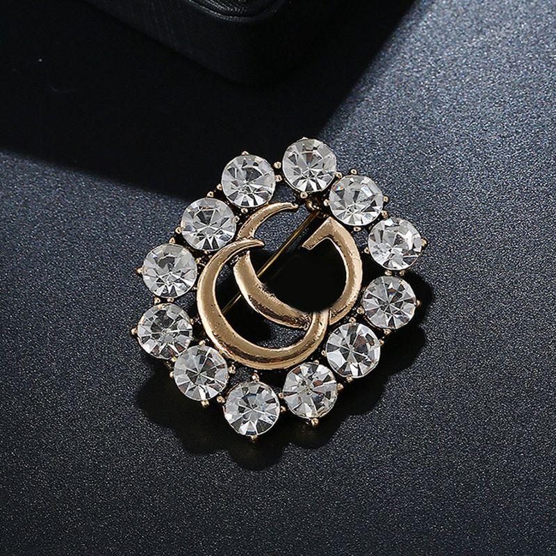 Mulheres Luxo Rhinestone broche famoso designer Suit lapela famosa marca de jóias presente de amor o transporte rápido