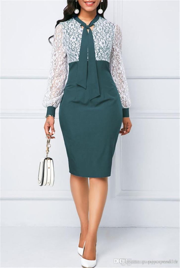 Сплошной цвет кружева работы Элегантный офис платье с длинными рукавами дизайнер дамы новый стиль одежды женщины моды платье