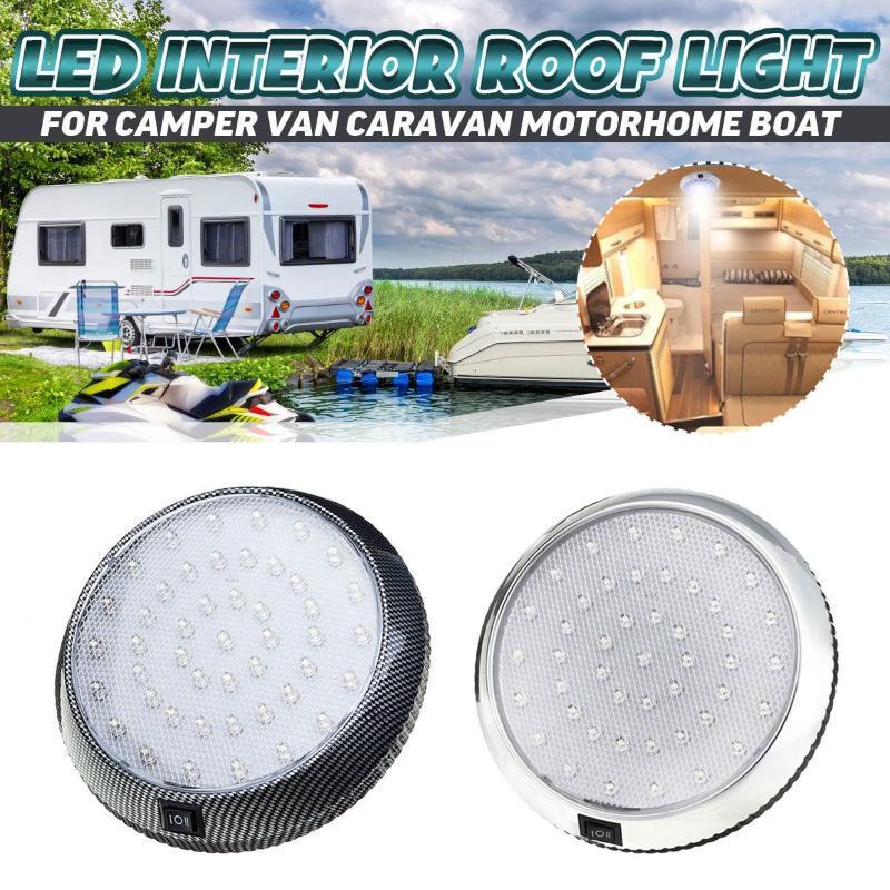 12V 46 LED Car Rodada de teto Dome telhado Luz Interior Lamp On / Off Switch Para Camper Van Caravan Motorhome Barco RV