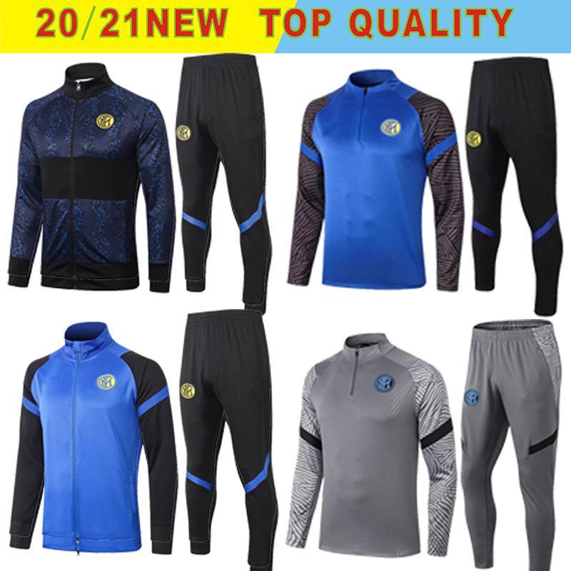 2020 2021 Inter chaquetas de chándal de fútbol kits 20/21 Survetement ALEXIS Lukaku LAUTARO MILAN traje de entrenamiento del fútbol fijado chaqueta de chándal