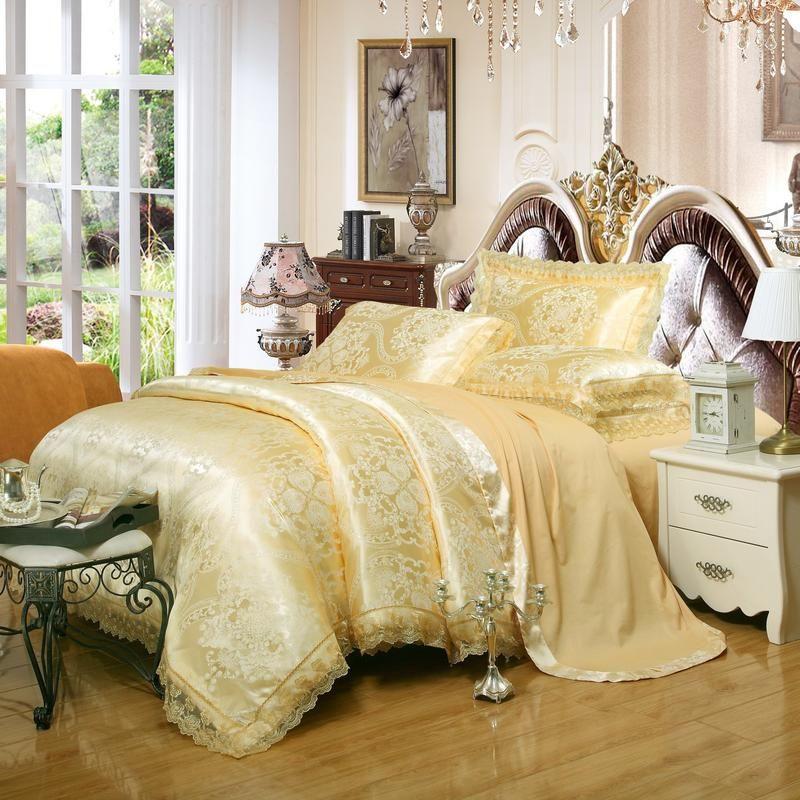 Golden Jacquard Silk Luxury Bedding Set Queen King Size Stain Size Bedclothes Cama Set 4/6 pcs Lace Duvet Cobertura Conjuntos de cama de linho Têxtil para casa