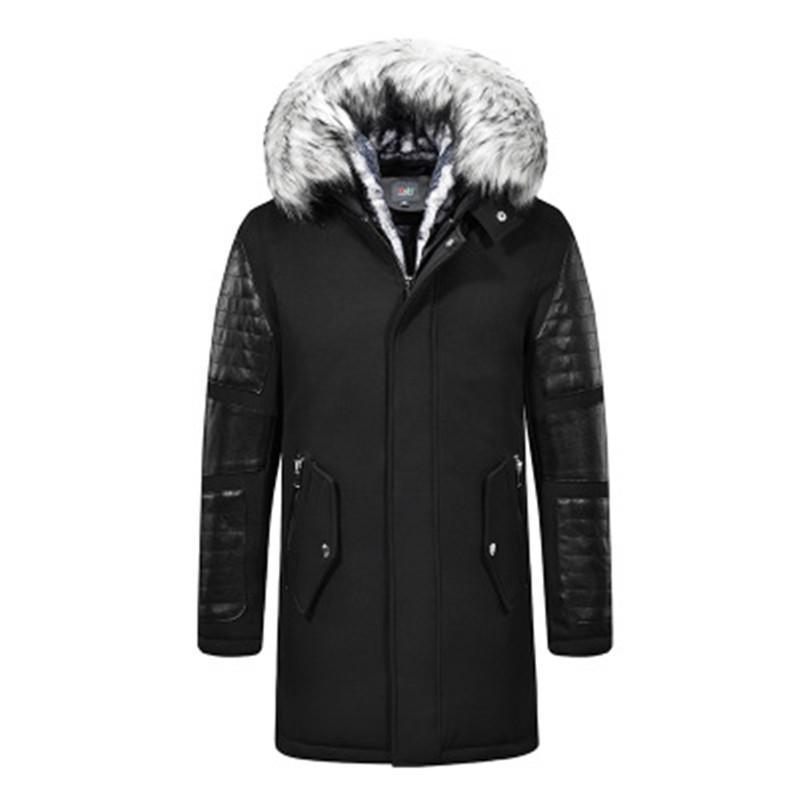 L'homme col de fourrure Vestes d'hiver Mode Tendance en peluche avec capuche cou Fermeture éclair mi-longueur Coats Designer Homme seul boutonnage style chaleureux Outerwears