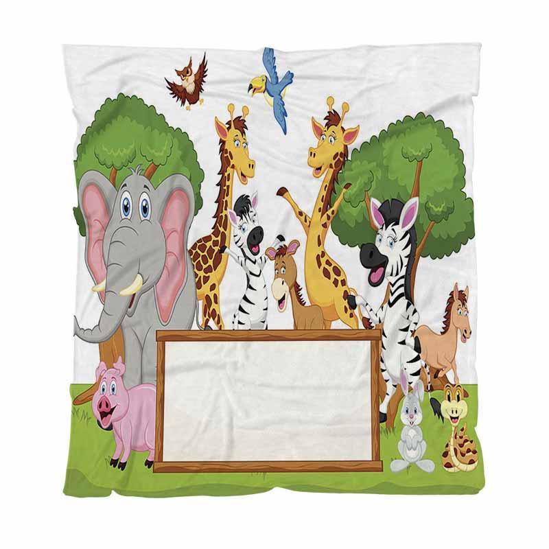 Aqueça flanela cobertores macios cobertores sólidos, engraçado dos desenhos animados animais com sinal em branco, Criança Adulto cobertor de ar condicionado Quilt