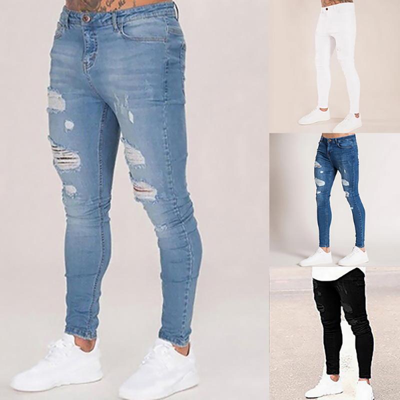 Mens jeans rotos casual flaco Slim Fit Pantalones vaqueros del motorista Hip Hop Jeans con atractivas pantalones Holel flaco apenada Denim