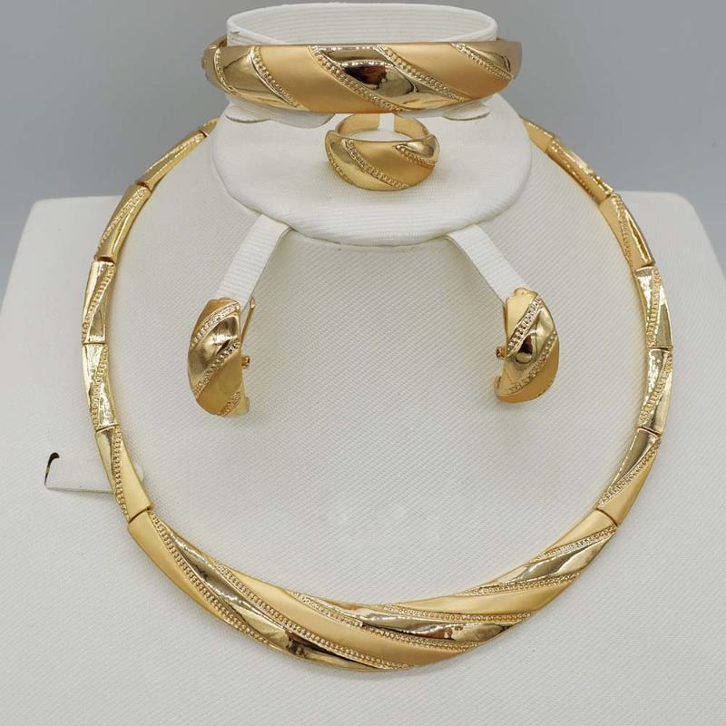 2020 NOVO 4sets Hot venda dubai ouro plat alta qualidade Moda jóias definir Africa mulheres casamento jóias conjunto brinco