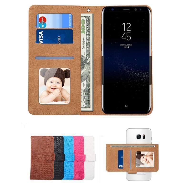 Universal crocodilo Carteira Imprimir Couro caso de telefone com cartão Slots FILP Titular Folio capa para o iPhone Samsung Huawei Lg Xiaomi
