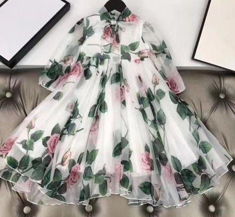 vestito bambini Ragazza della principessa del merletto vestito da partito del 2020 delle nuove ragazze Abiti bambini Abbigliamento Bambini primavera estate autunno