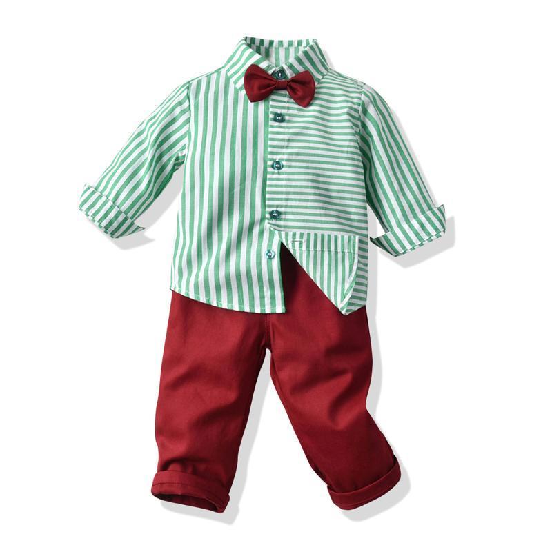 Üst ve Üst Bebek Boys Tasarım Giyim Seti Pamuk Çizgili Gömlek Modelleri Kırmızı Pantolon Bebek Bebek Casual Giyim Kıyafetleri Suit