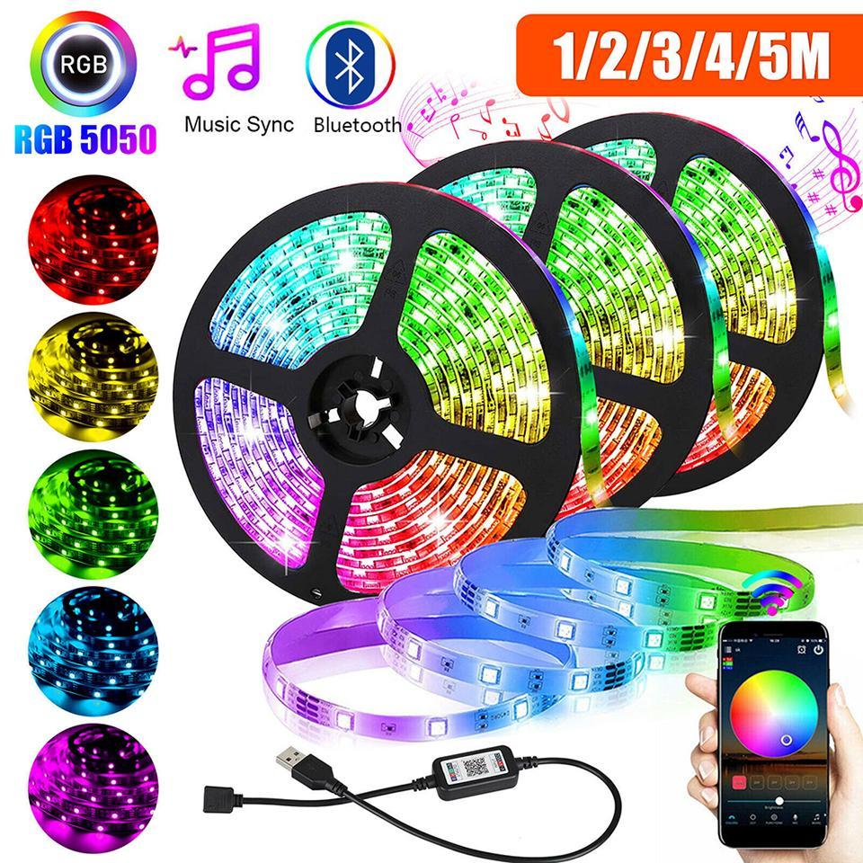 USB-LED-Streifen-Licht SMD 5050 RGB-bunte DC5V-flexible LED-Lichtband-Band-Bluetooth-wasserdichte TV-Hintergrundbeleuchtung