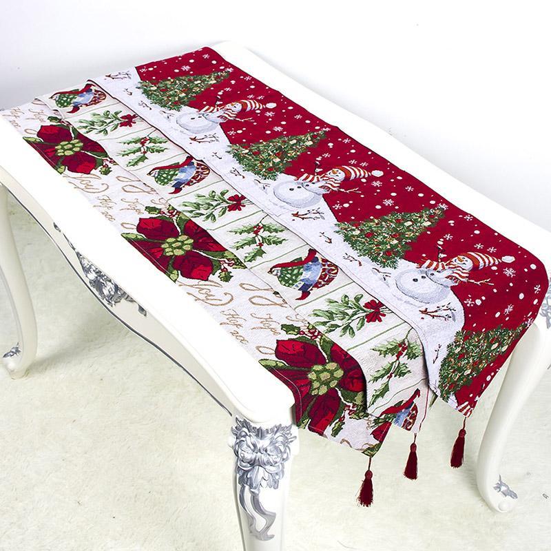 180 * 35cm Tabla de Navidad del partido de la bandera de mesa de impresión Decoraciones de Navidad Mantel de algodón de lino bordado del muñeco de Suministros de DHL WX9-1715