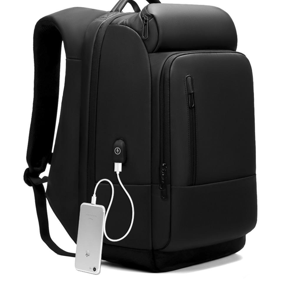 17-Zoll-Rucksack für Männer Wasserabweisend Funktionelles Rucksack mit USB-Ladeanschluss Travel Rucksäcke Male n1755