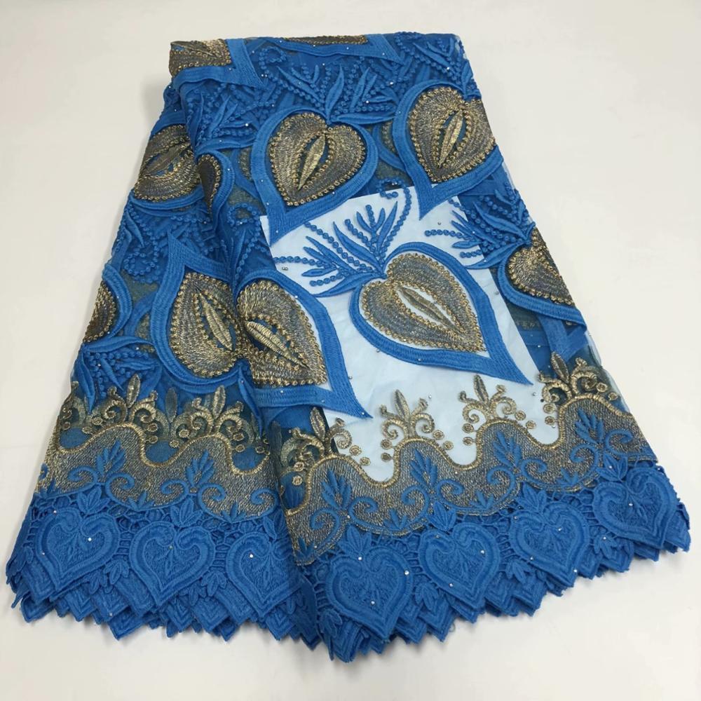 Maravilhoso céu azul bordado Africano pano líquida Francês tecido tule de renda para festa vestido RFN175 (5yards / lot)