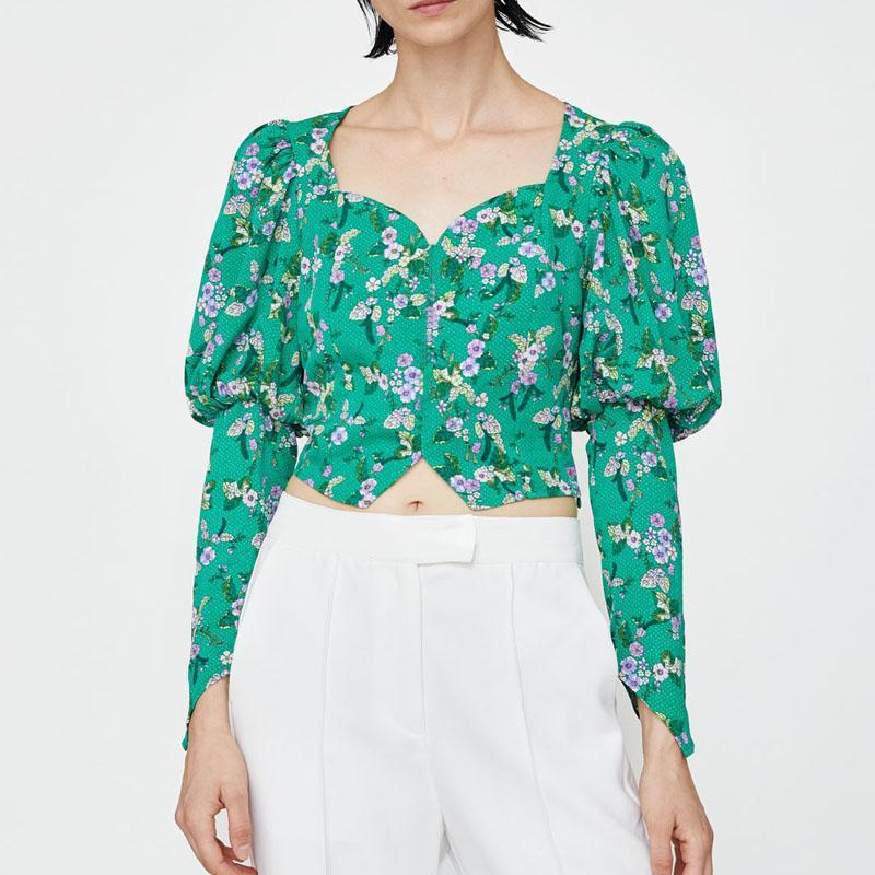 Verano 2020 ocasionales de impresión de las mujeres del punto tops camisas de las mujeres ropa de color verde blusa de manga larga
