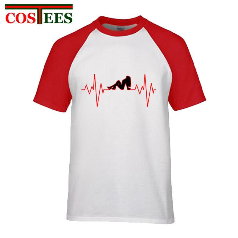 New Nouveauté Parodie Sexe fille battement de coeur T-shirts des hommes de bande dessinée de T-shirts imprimés drôle d'impulsion électrique camiseta Geek loisirs T-shirt homme