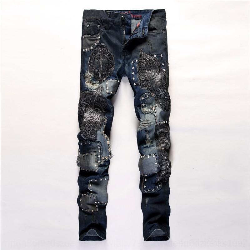 ZiRMM Tasarım yeni alternatif erkek nakış baykuş dikiş gece kulübü ve işlemeli kot pantolon ince düz bir uyum kot