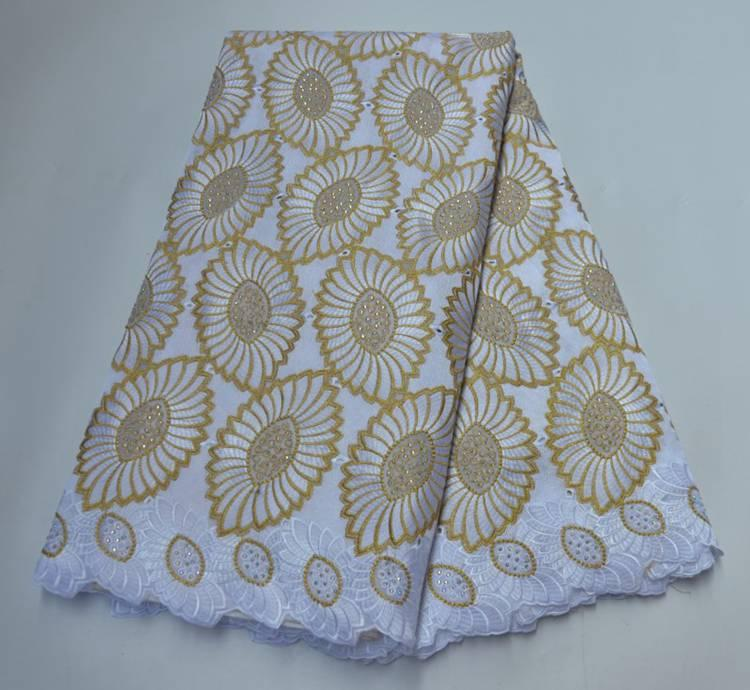 New Fashion African Nigerian Handcut Swiss Voile Lace With Stones 2020 High Quality African 100% Cotton Lace Fabric YW7341