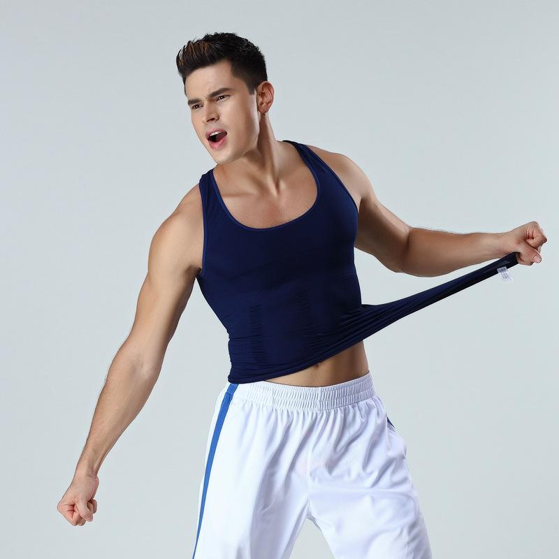 Undershirts Corpo Shaper Masculino Compression Tank Tops Tummy Slimming Control Corset Sem Emenda Alta Elástico Shapewear Corretivo Colete de Postura