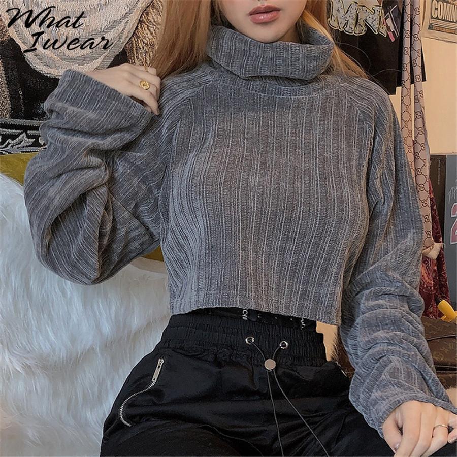 Pull tricoté Casual élastique Loose Women Streetwear col roulé overs épais Oversize 2019 Automne chaud manteau d'hiver