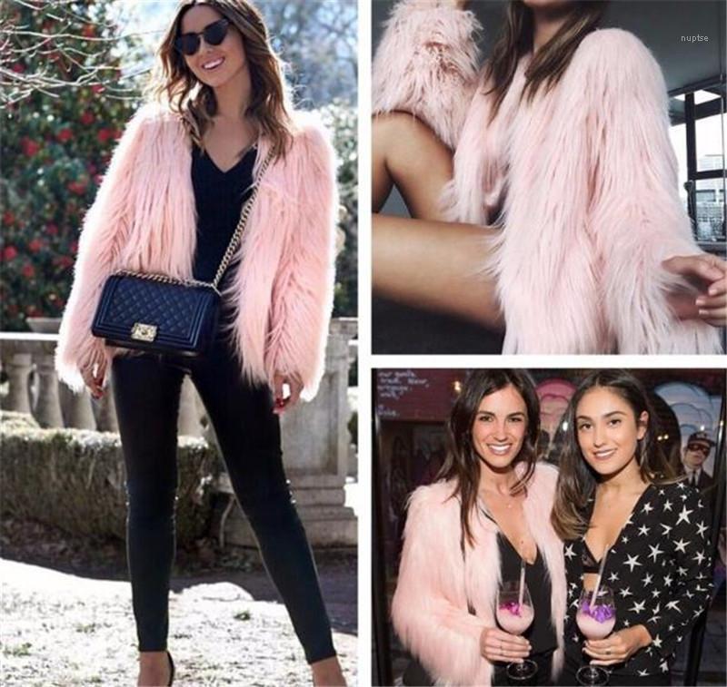 Winter Designer Frauen Fur Coat Solid Color V-Ausschnitt Langarm Womens Oberbekleidung lose Sexy Damen Pelzmäntel